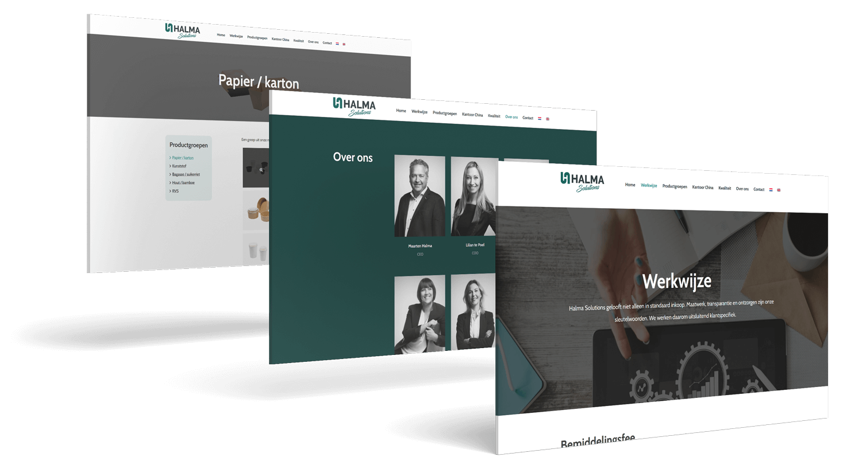 Halma Solutions website screenshots